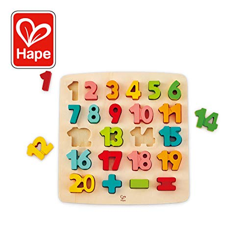 (ODYSSEY Toys Hape Chunky Number Puzzle (10 Pieces), Multicolor, 5'' x 2'')