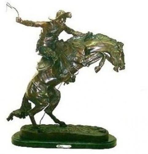 - Artistic Solutions Frederic Remington Pure Bronze Bronco Buster Statue Sculpture - Medium Size