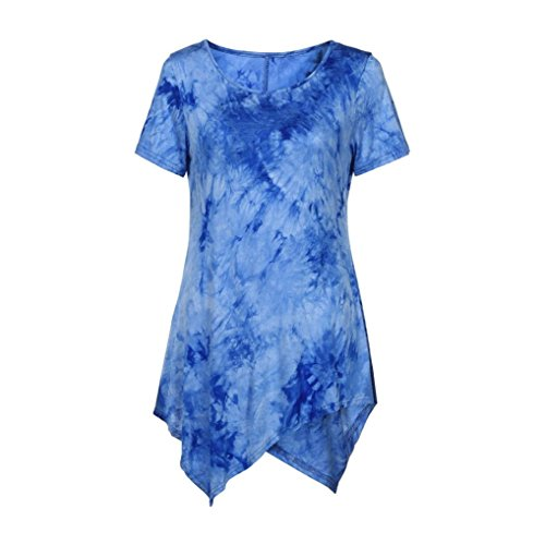 Women Plus Size Clothing, Women Ladies Short Sleeve Casual Shirt Tops Blouse S-5XL (4X, Blue)