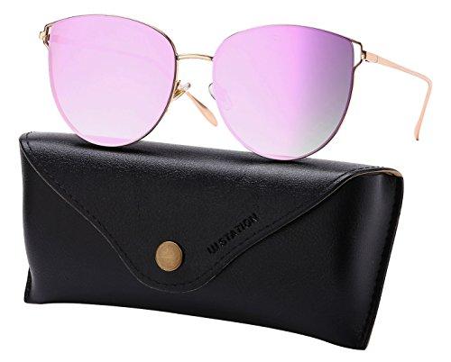Mirrored Sunglasses for Women, Cat Eye Sunglasses, Rimless Sunglasses with Sunglasses Case ()