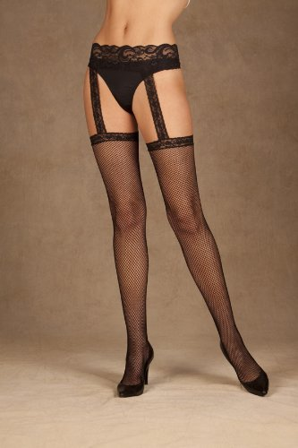 Elegant Moments Women's Fishnet Thigh High with Lace Garter Belt, Black One Size