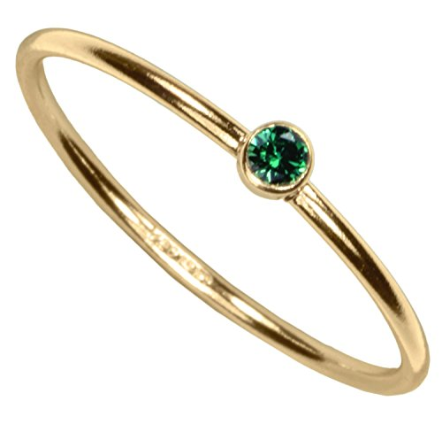uGems 14kt Gold Filled Green CZ Stacking Ring Size 5 ()