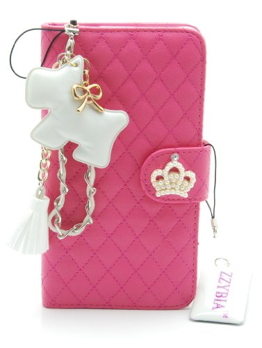ZZYBIA® NOTE III 3 QCD Leatherette Stand Case Card Holder Wallet with Dog Fringed Dust Plug Charm for Samsung Galaxy Note III 3 N9000 N9005 (Shocking Pink)