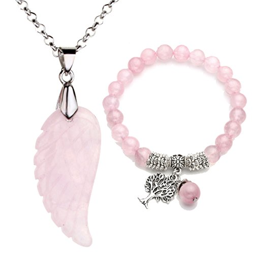 Top Plaza Reiki Healing Crystal Quartz Gemstones Jewelry Angel Wings Carved Stone Pendant Necklace Tree Life Charm Stretch Bracelet Set-Rose Quartz #1