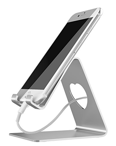 Cell Phone Stand, Adaker iPhone Stand : Desktop Cradle, Dock For Switch, All Android Smartphone, for iPhone 6 6s 7 8 X Plus 5 5s 5c All-New Fire 7 Tablet Charging, Universal Accessories Desk,Silver