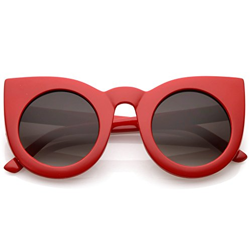 zeroUV - 70s Womens Large Oversized Retro Vintage Cat Eye Sunglasses For Women with Round Lens 48mm ()