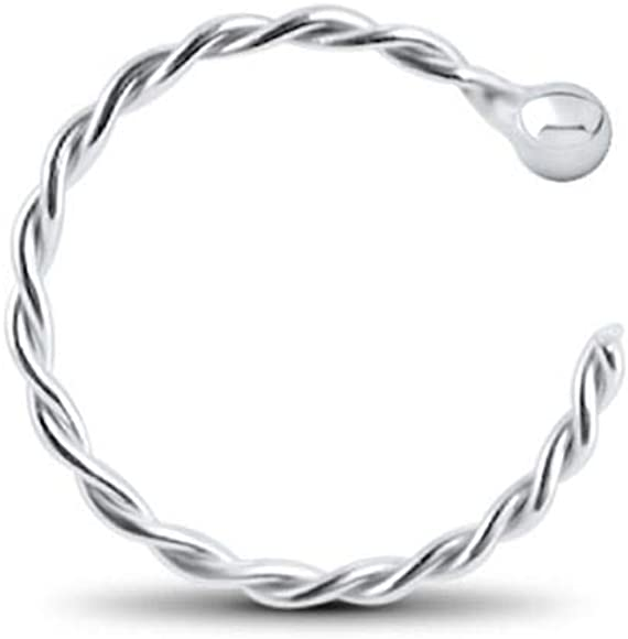 """5//16/"""" 3//8/"""" 14Kt Solid White Gold Nose Hoop Ring with 2mm Ball Top 20G 18G"""