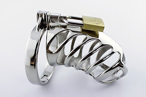 MISSLOVER New 85*35mm Stainless steel chastity device cock cage metal CB6000 male penis cage chastity belt penis lock sex toys for men 1pcs by MISSLOVER
