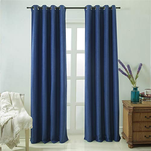 DEZENE Blackout Curtains with Grommets – Natural Linen Look, Stylish Woven Texture – Thermal Insulated Room Darkening Draperies for Living Room – 2 Panels,52 Inch Wide x 84 Inch Long,Navy