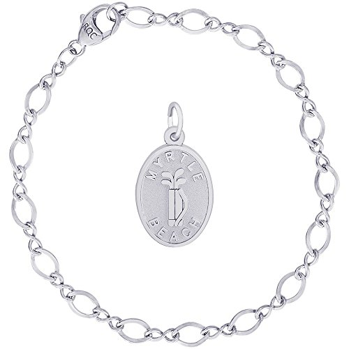 (Rembrandt Charms Sterling Silver Myrtle Beach Golf Bag Charm on a Figure Eight Link Bracelet, 8