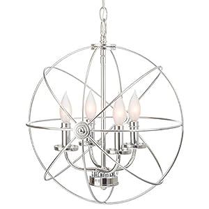 """Kira Home Orbits II 15"""" 4-Light Modern Sphere/Orb Chandelier, Chrome Finish"""