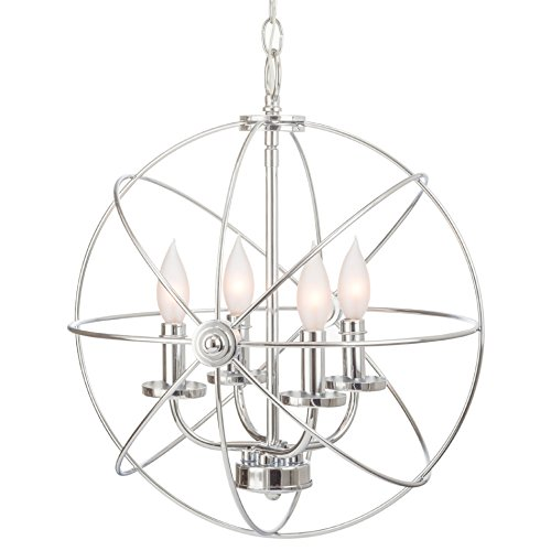 "Kira Home Orbits II 15"" 4-Light Modern Sphere/Orb Chandelier, Chrome Finish"