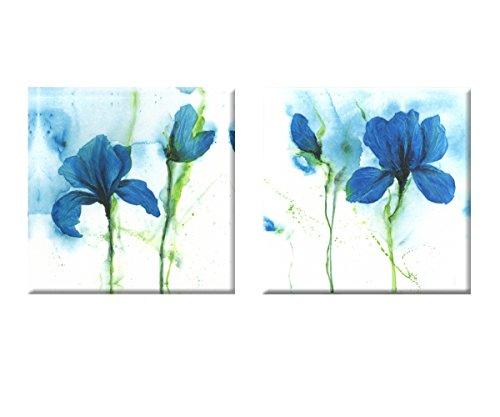 Blue abstract flowers up wall D¨¦cor Art Canvas Print Set of 2 with No Inside Frame and No Outside Frame