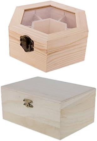 dovewill 2pcs Plain sin terminar caja hexagonal de madera sin pintar forma de rectángulo joyería caja DIY caja de almacenamiento tesoro juguete caso: Amazon.es: Joyería