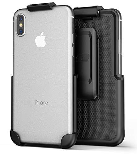 Encased iPhone Xs MAX Belt Clip Holster, Case Free Design (ClipMate Series) Rubberized, Non Slip Rotating Holster for Apple iPhone Xs MAX Phone (Black)
