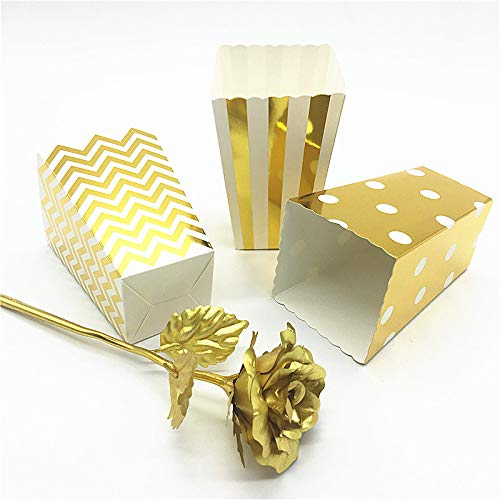 Xiaogongju 6Pcs/Bag 8 Colors Paper Party Popcorn Boxes Pop Corn Candy Bags for Wedding Birthday Movie Party Tableware Gold Dot 6pcs-yd]()
