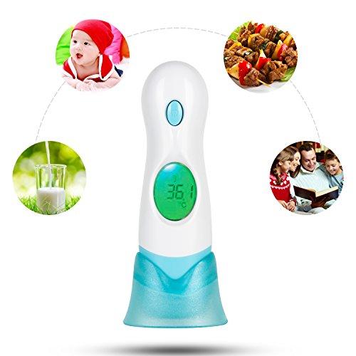 UVISTAR Infrarot Digitales Fieberthermometer für Baby kleikinder Erwachsene, Professionales Ohrthermometer Stirnthermometer, Kontaktlos Schnell mit LCD-Hintergrundbeleuchtung körpertemperatur / Flüssigkeit zum Messen , 3 in 1 mit Uhr-Funktion Temperaturkalibrierung
