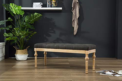 Solid Wood Dining Bench - Roundhill Furniture CB161CC Habit Solid Wood Button Tufted Dining Bench, Charcoal