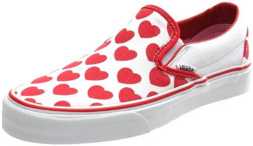 783b7c3af075 Vans Classic Slip On (Big Hearts) True White Red Shoe 58598 (UK5 ...