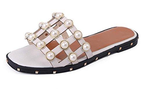 La Sra verano sandalias y zapatillas de punta abierta sandalias planas y zapatillas sandalias palabra arrastrar al aire libre de la perla de las mujeres ahuecan White