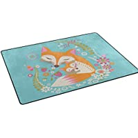 DEYYA Custom Print Non-slip Area Rugs Pad Cover 31 x 20 Inch, Fox Love Pattern Throw Rugs Carpet Modern Carpet for Home Dining Room Playroom Living Room Decoration