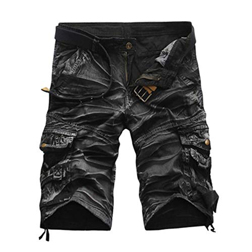 Elibone Cargo Shorts Men Cool Camouflage Casual Short Pants Summer Thin Shorts Joggers Sweatpants Cotton Brand Camo Shorts,Black Camouflage,31