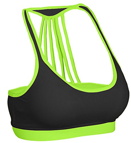Zaiai Womens Yoga Strappy Sports Bra Green 36