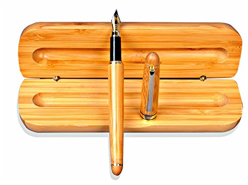 Luxury Gold-Plated Bamboo Fountain Pen with Stunning Gift Case ✮ 100% Handcrafted ✮ Executive Fountain Pens Set ✮ Vintage Collection ✮ Beautiful Calligraphy and Writing ✮ 100% Satisfaction Guarentee