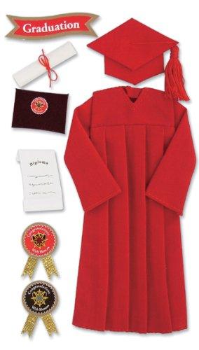 Jolee's Boutique Le Grande Ornate Stickers-Graduation Cap & Gown/Red