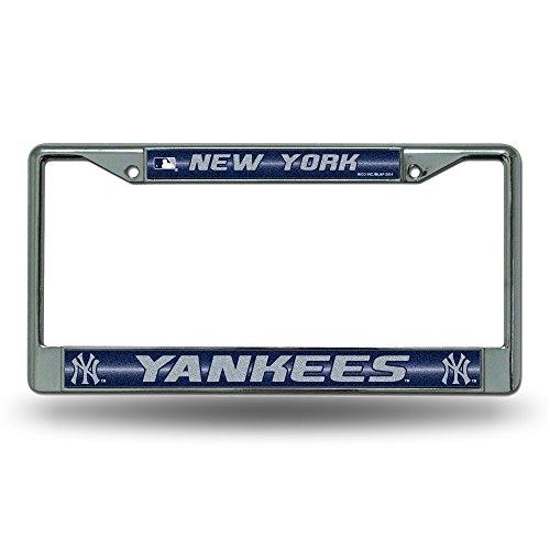 MLB New York Yankees Bling License Plate Frame, Chrome, 12 x