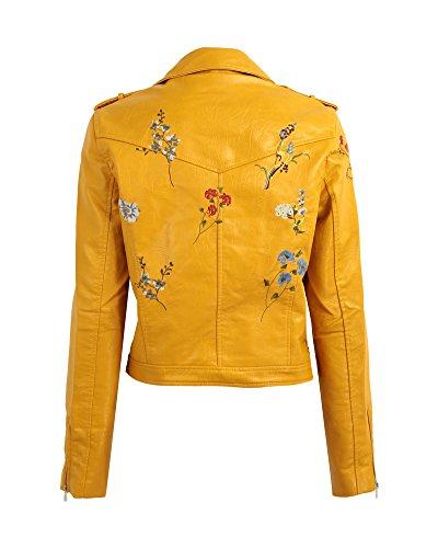 Jacket Coat Romacci Yellow Zipper Jacket PU Embroidery Women Basic Outerwear Leather Moto Flower 4xwqAZRO
