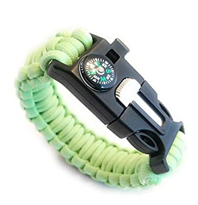 "Mello Products Ultimate 550 Paracord Survival Bracelet - Glow in the Dark Luminous Hiking Multi Tool, Emergency Whistle, Compass, Camp Fire Starter 5-in1 Set Universal 9.75"" by Mello Products"