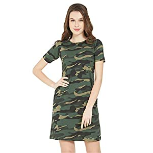 Wear Your Opinion Women's Casual Camouflage Army Military Style T-Shirt Midi A-Line Dress