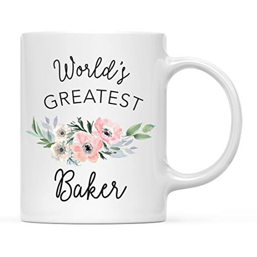 Andaz Press 11oz. Coffee Mug Gift for Women, World's Greatest Baker Mug, Bohemian Pink Anemone Floral Flower, 1-Pack, Drinking Cup Birthday Christmas Promotion Graduation Gift Ideas for Her (Gift Ideas Christmas For Bakers)