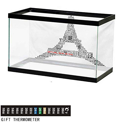 Aquarium Background,Paris,Illustration of Tour Eiffel with Words Paris Historical Cultural French Building,Black White Fish Tank Backdrop 24
