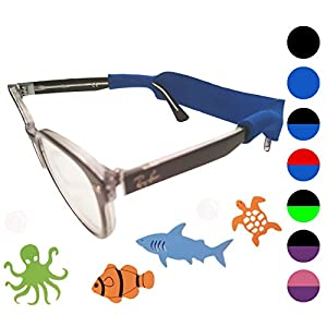 Kids Glasses Strap 2pk with Bonus Deep Sea Adventure Stickers (Blue)