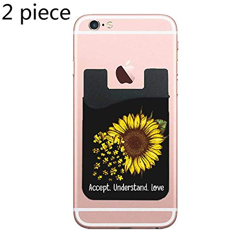 - Cellcardphone Sunflower Accept Understand Love Autism Awareness Cell Phone Stick On Wallet Card Holder Phone Pocket for All Smartphones - Black - 2 Piece