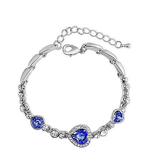 (Ocean Hearts Glass Slipper White Gold Plated Bracelet, Made with SWAROVSKI Crystal Fairytale Design! (Ocean Hearts))