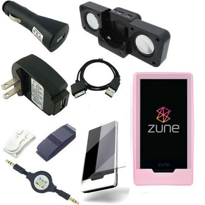 Ultimate Premium Accessory Bundle Combo for Microsoft Zune HD 16GB / 32GB Series MP3 Player: Pink Silicone Skin Case Cover, USB 2in1 Data Sync Cable, USB Car Charger, USB Wall / Travel / AC Adapter Charger, 3.5mm Auxillary Retractable Cable, Belt Clip, Armband, Portable Foldable Speaker Dock, and a Screen Protector