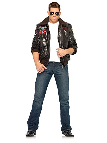 Top Gun Men's Bomber Jacket Set Adult Costume - - Costume Top Girl Gun