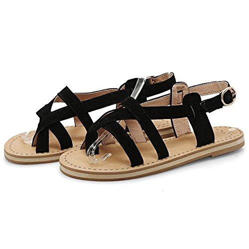 COOLCEPT Mujer Moda Sin Cordones Sandalias Slingback Planos Zapatos Negro