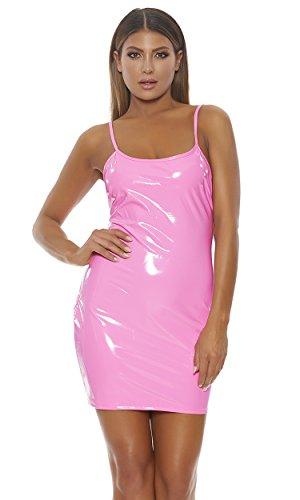 Mini Forplay - Forplay Vinyl Cami Mini Dress Neon Pink