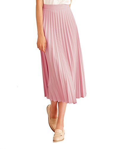 Simple Retro Women's Pleated Skirt Midi A Line High Waist Skirt,Pink,Large