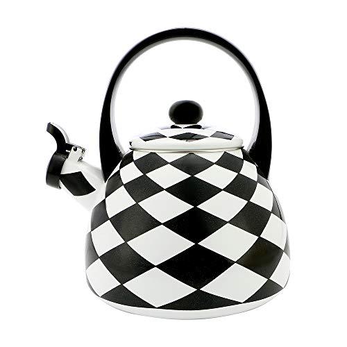 Gourmet Art Black Diamond Enamel-on-Steel Whistling Kettle