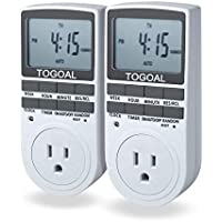 TOGOAL TE02(DT1800) Digital Light Timer Plug with 3-prong Outlet, 24/7 Programmable for Indoor Electrical Switch with Anti-theft Random Option, 2 Packs (15A, 1800W)
