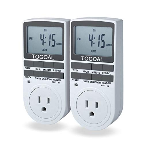 TOGOAL TE02(DT1800) Digital Light Timer Plug with 3-prong Outlet, 24/7 Programmable for Indoor Electrical Switch with Anti-theft Random Option, 2 Packs (15A, -