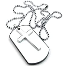 Konov Jewelry Mens Womens Army Style Cross Dog Tag Pendant Necklace, 27 inch Chain, White Silver, with Gift Bag, C22966