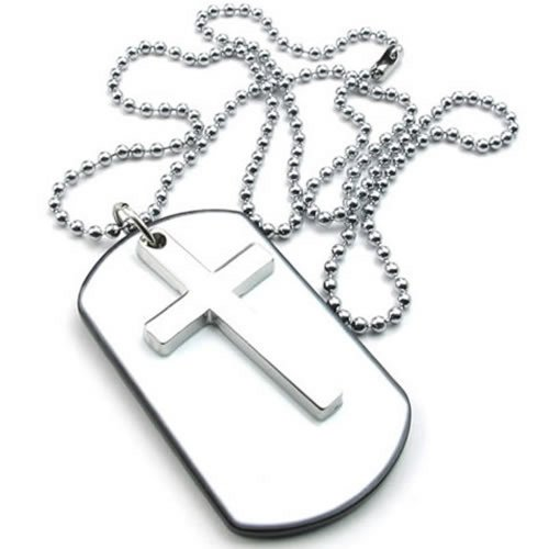 KONOV Mens Womens Army Style Cross Dog Tag Pendant Necklace, 27 inch Chain, White Silver