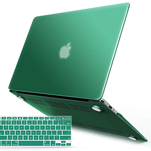 IBENZER MacBook Air 13 Inch Case, Soft Touch Hard Case Shell Cover with Keyboard Cover for Apple MacBook Air 13 A1369 1466 NO Touch IDPeacock Green,MMA13LMGN+1 (Lime Green Laptop Case 13)
