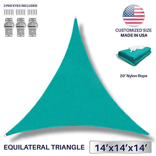 Windscreen4less 14 x 14 x 14 Triangle Sun Shade Sail – Turquoise Durable UV Shelter Canopy for Patio Outdoor Backyard with Free 3 Pad Eyes – Custom Size